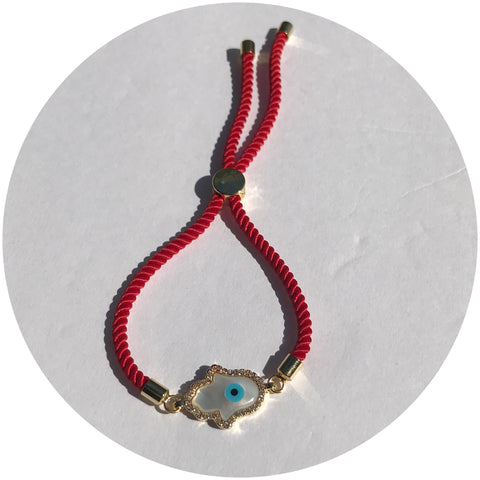 Red Cord with Mother of Pearl Pavé Hamsa Connector