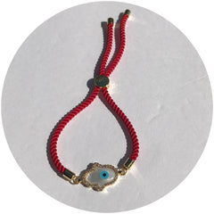 Red Cord with Mother of Pearl Pavé Hamsa Connector - Oriana Lamarca LLC