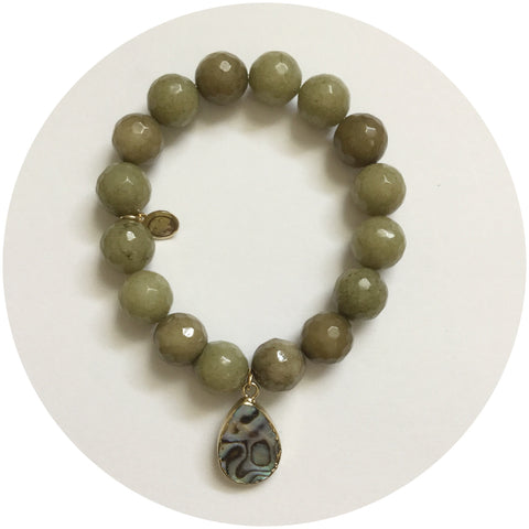 Pistachio Jade with Abalone Teardrop