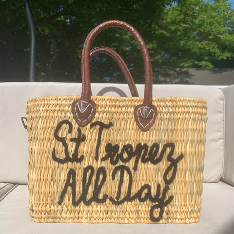 Lilliana St Tropez All Day Leather Handle Reed Bag