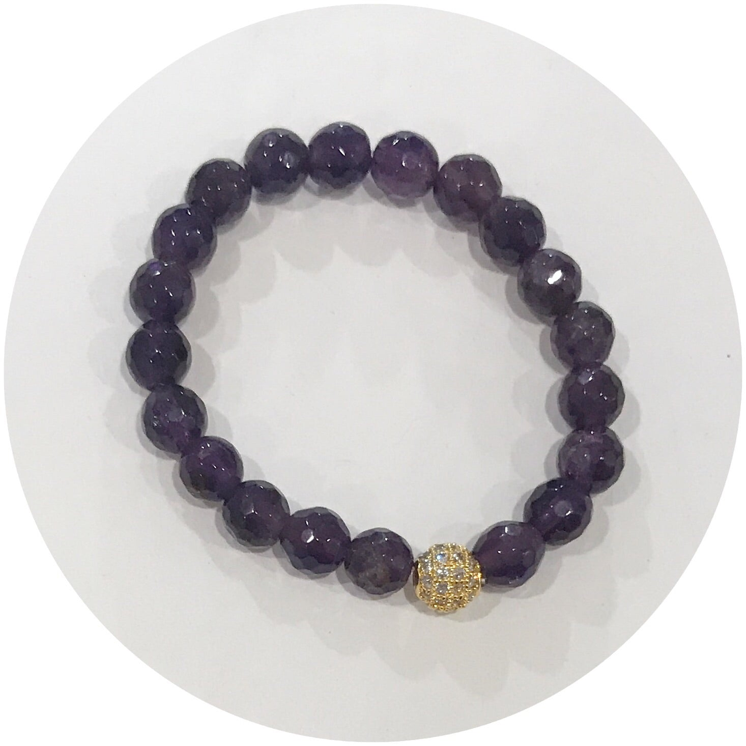 Mini Amethyst with Gold Pavé Accent *For NewBorns*