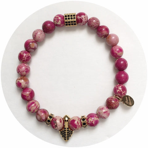 Nate B. Mens Pink Imperial Jasper with Pavè Shield of Honor
