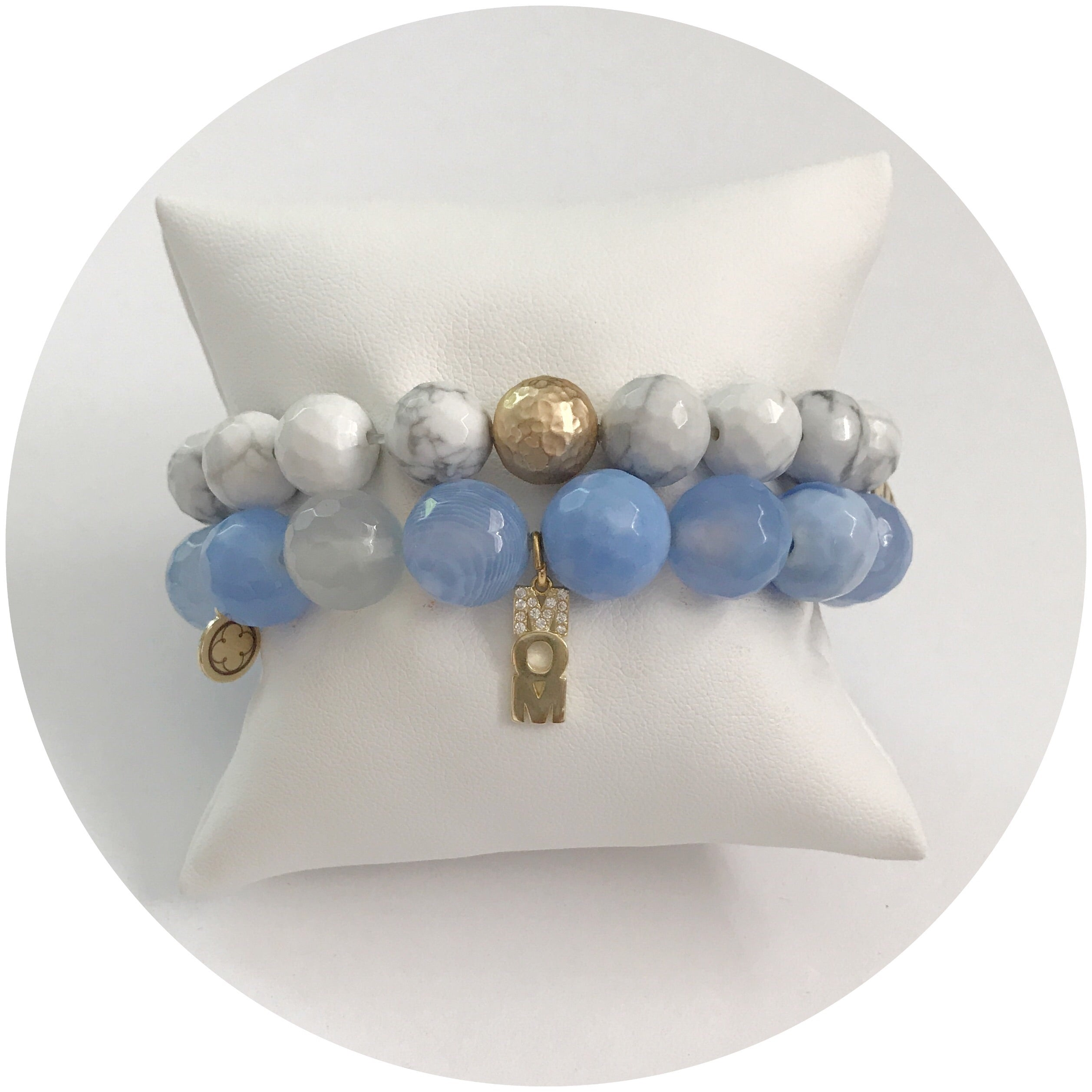 Mother's Day Pavé Serenity Blue Agate Arm Party - Oriana Lamarca LLC