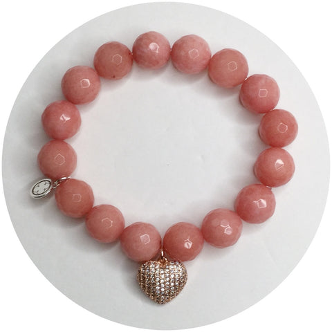 Rose Pink Jade with Pavé Puff Heart Pendant