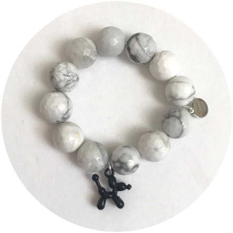 Children's White Howlite with Black Balloon Dog