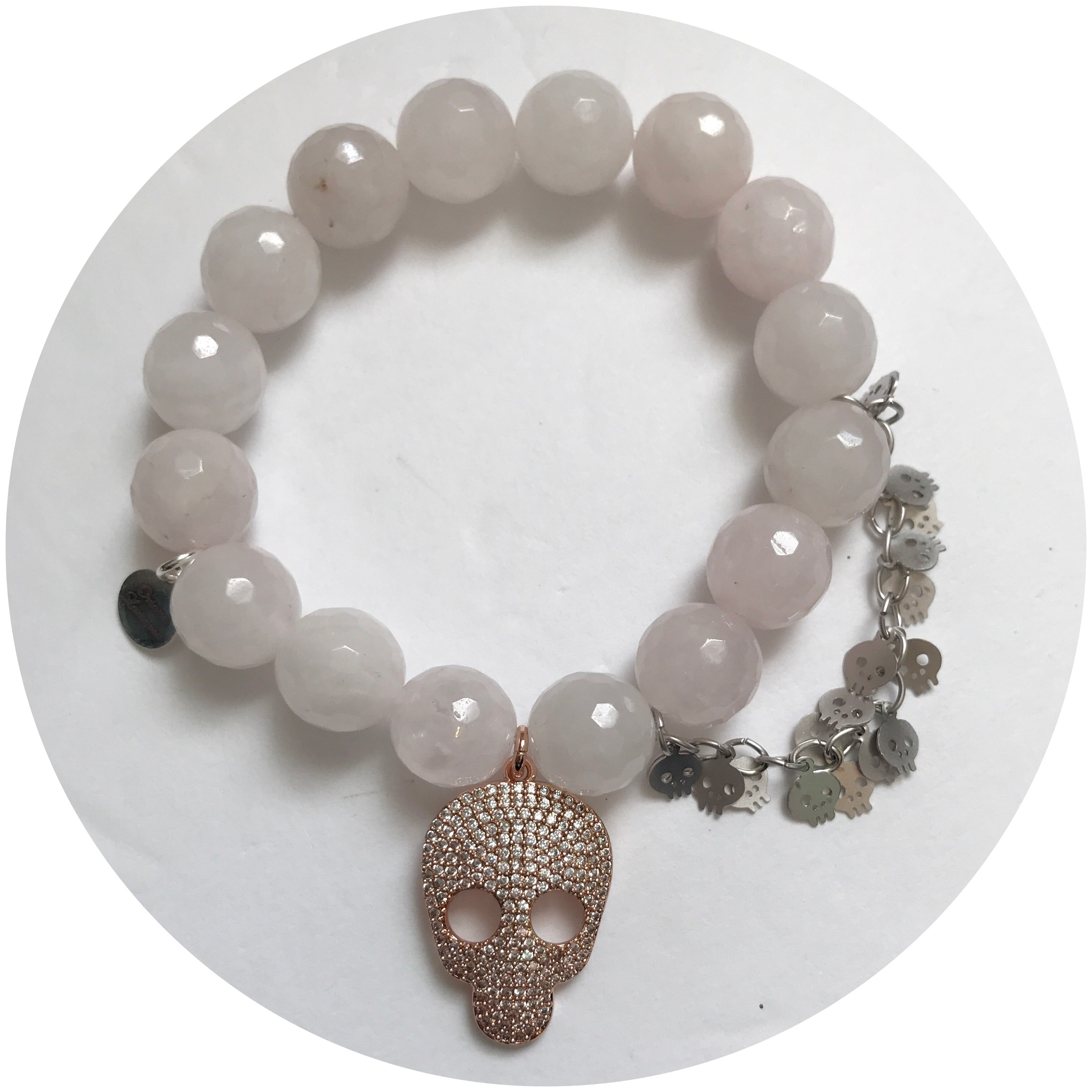 Rose Quartz with Pavé Rose Gold Skull and Silver Skull Chain - Oriana Lamarca LLC