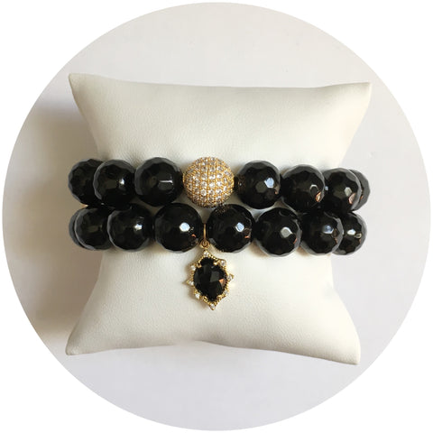 Black Onyx Gold Tone Color Stax