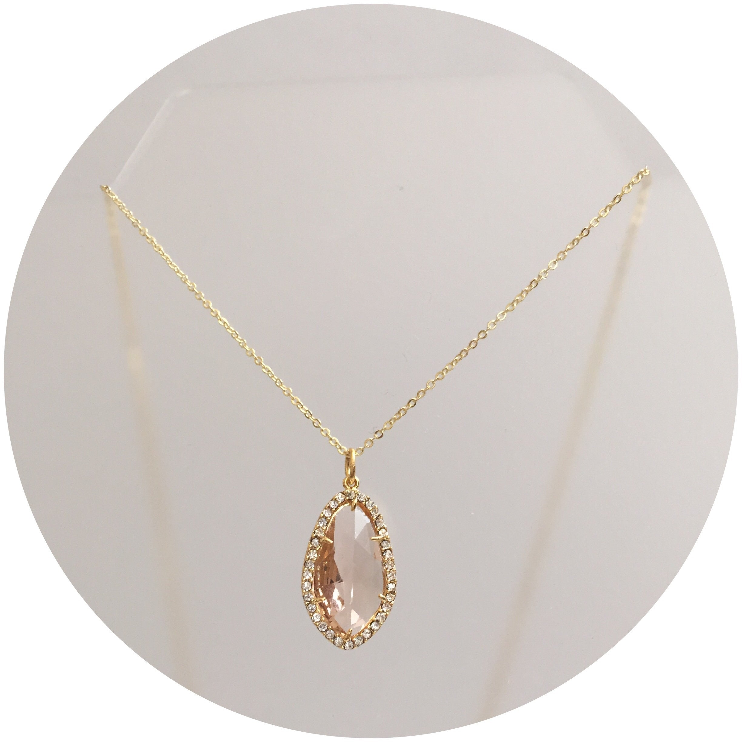 Pavé Peach Glass Necklace - Oriana Lamarca LLC