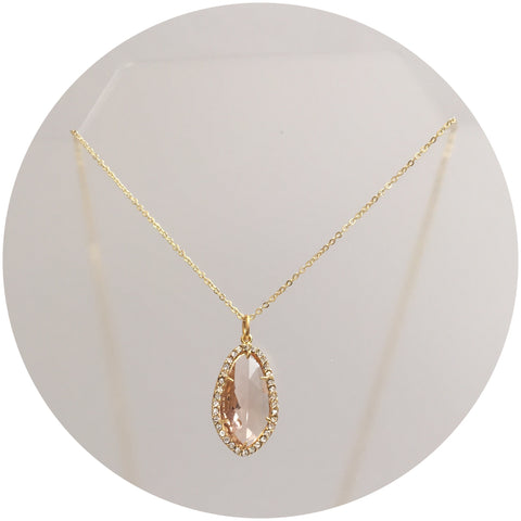 Pavé Peach Glass Necklace