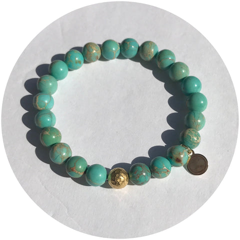 Turquoise Imperial Jasper with Hammered Gold Accent