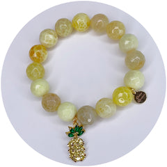 Yellow Agate with Gold Pavé Pineapple Pendant