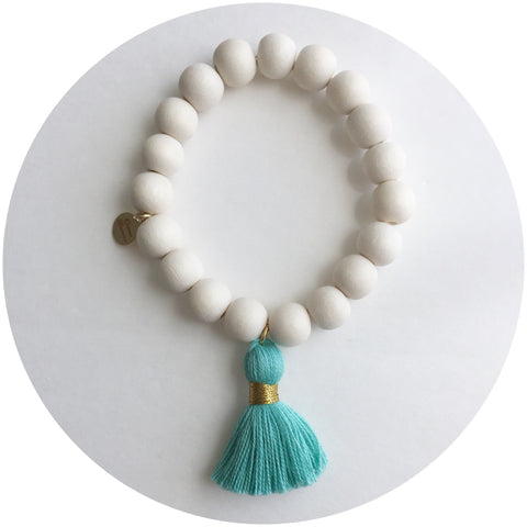 Blonde Wood with Mint Tassel