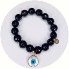 Black Onyx with Mother of Pearl Evil Eye