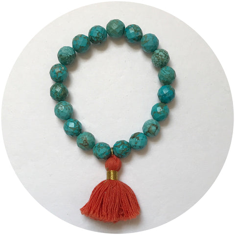 Green Turquoise with Orange Tassel