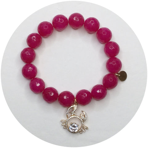 Magenta Jade with Cancer Zodiac Pendant