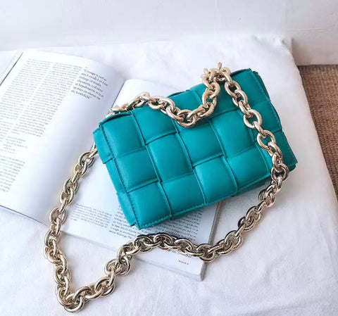 Quinn Teal Quilted Bag