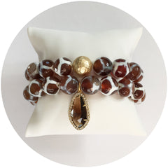 Tibetan Brown Giraffe Agate Color Stax