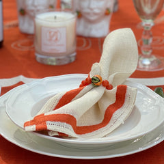 Orange Jade with Handpainted Orange Wine Glass Marker & Napkin Ring