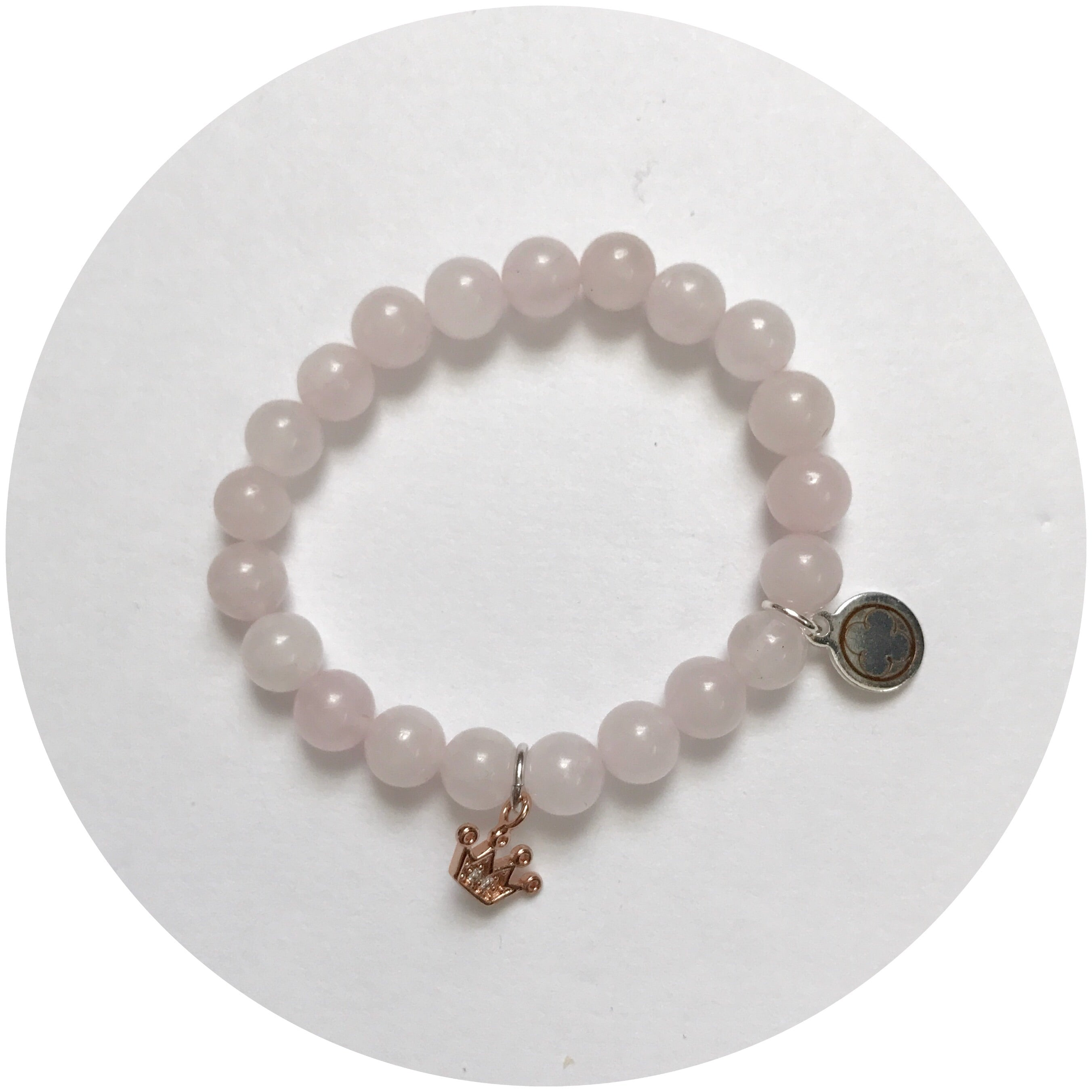 Mini Rose Quartz with Rose Gold Pavé Crown *For NewBorns*
