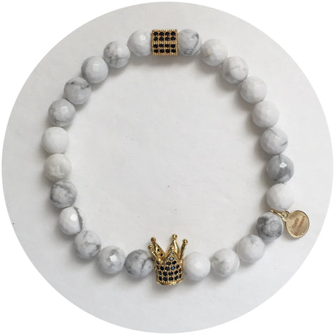 Nate B. Mens White Howlite Pavè Royalty Crown