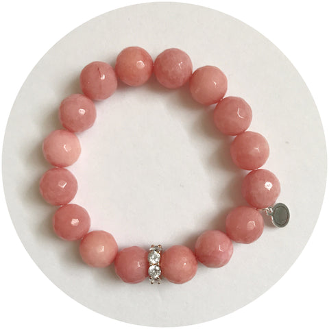 Rose Pink Jade with Rose Gold Pavé Bubble Spacer