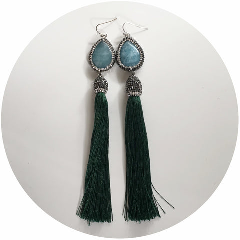 Jade Pavé with Emerald Tassel Earcandy