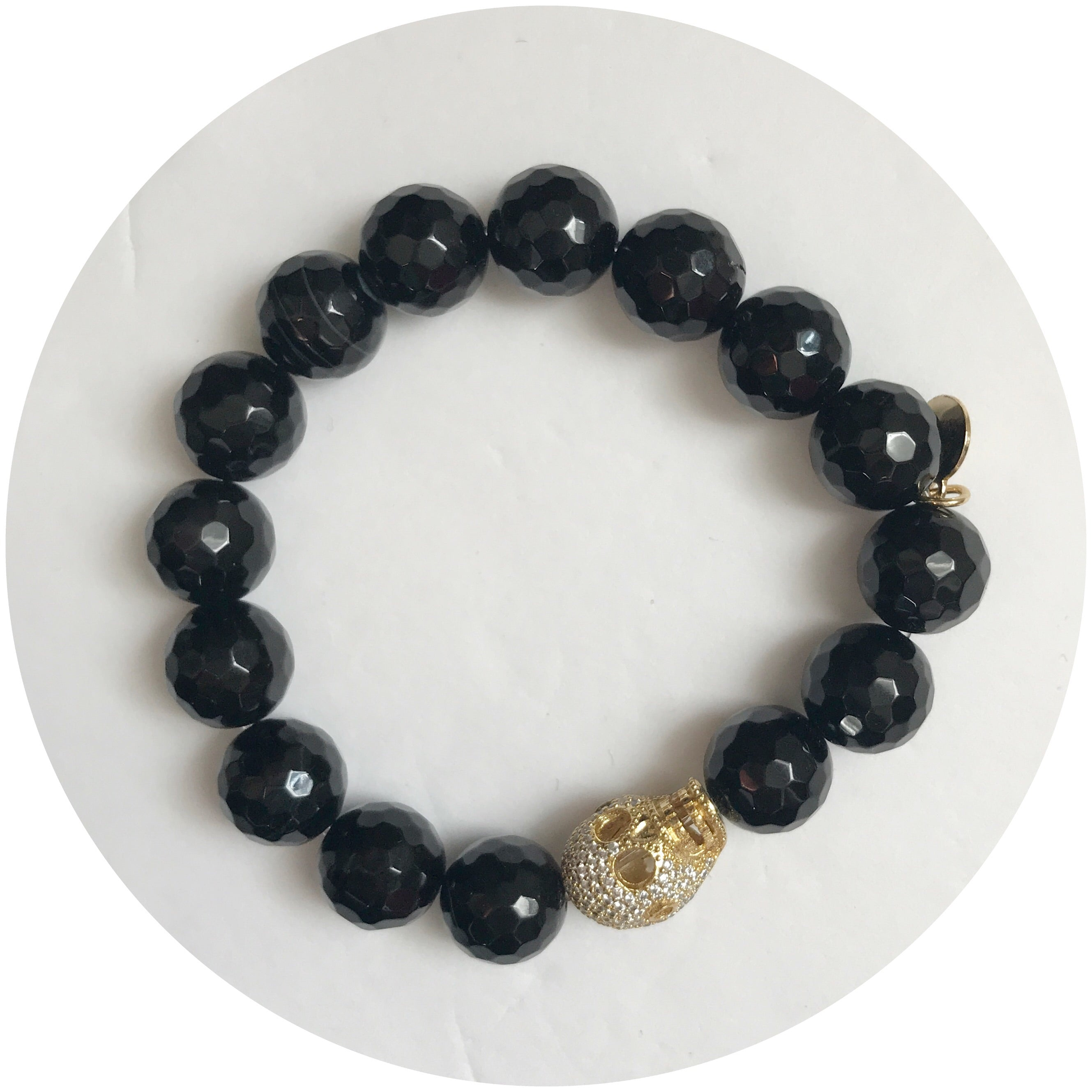 Black Onyx with Pavé Gold Skull - Oriana Lamarca LLC