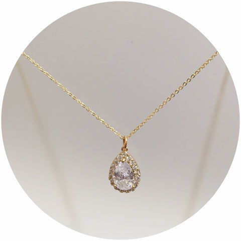 Pavé Gold Teardrop Necklace