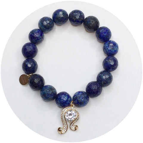 Lapis with Virgo Zodiac Pendant