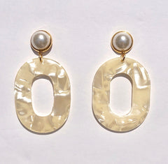 Coconut Pearl Acrylic Earrings - Oriana Lamarca LLC