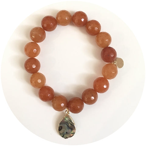 Brown Aventurine with Abalone Teardrop Pendant
