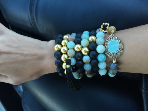 Amazonite with Black Tassel