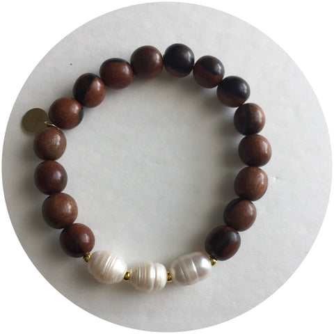 Date Wood with Triple Freshwater Pearls