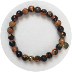 Mens Black/Orange Agate with Gold Accent