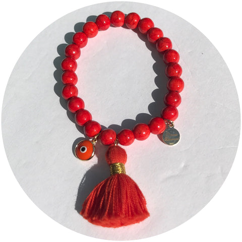 Orange Howlite with Orange Tassel