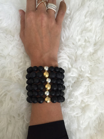 Matte Black Onyx with Hammered Gold Accent