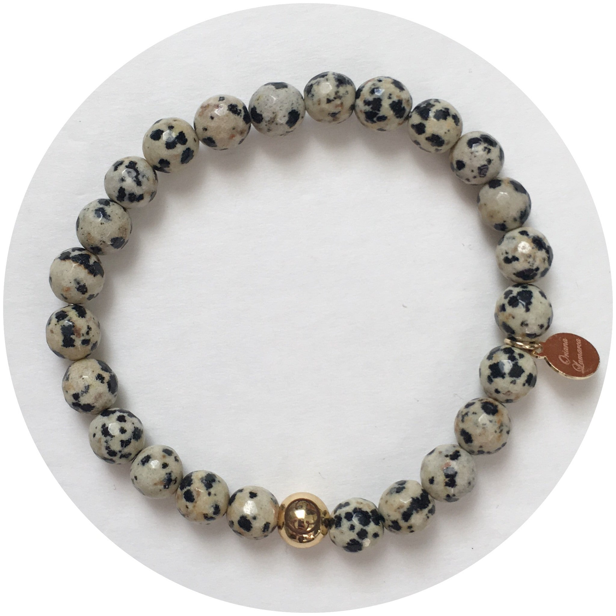 Mens Dalmatian Jasper with Gold Accent - Oriana Lamarca LLC
