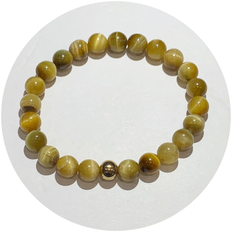Mens Gold Tiger Eye with Gold Accent