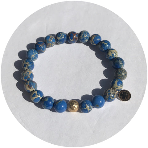 Blue Imperial Jasper with Hammered Gold Accent