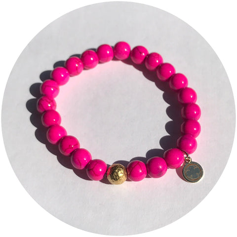 Hot Pink Howlite with Hammered Gold Accent