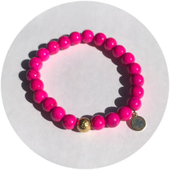 Hot Pink Howlite with Hammered Gold Accent - Oriana Lamarca LLC