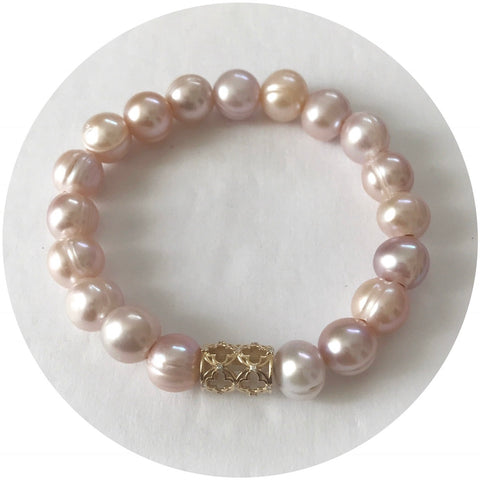 EJ X OL Freshwater Champagne Pearls with Barrel