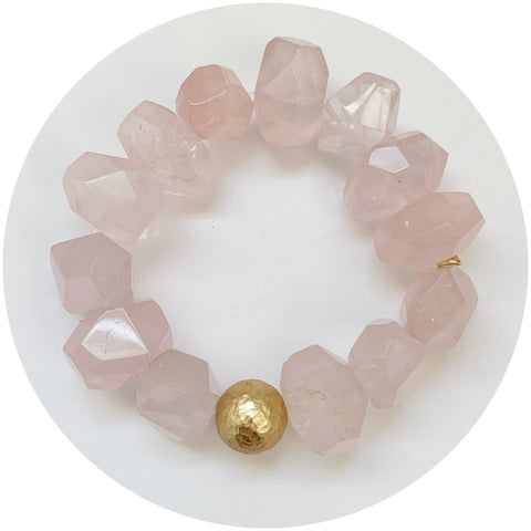 Rose Quartz Nugget with Hammered Gold Accent