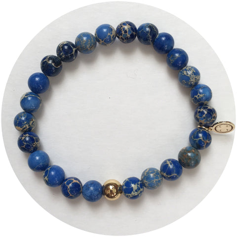 Mens Blue Imperial Jasper with Gold Accent