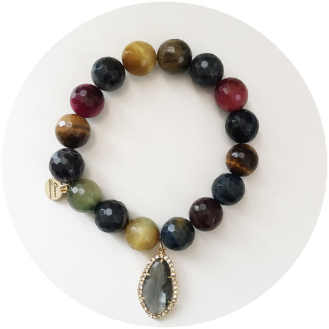 MultiColor Tiger Eye with Pavé Grey Gold Crystal Point Pendant