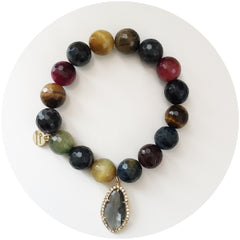 MultiColor Tiger Eye with Pavé Grey Gold Crystal Point Pendant - Oriana Lamarca LLC