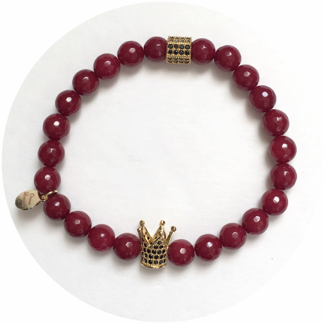 Nate B. Mens Marsala Jade with Pavè Royalty Crown - Oriana Lamarca LLC