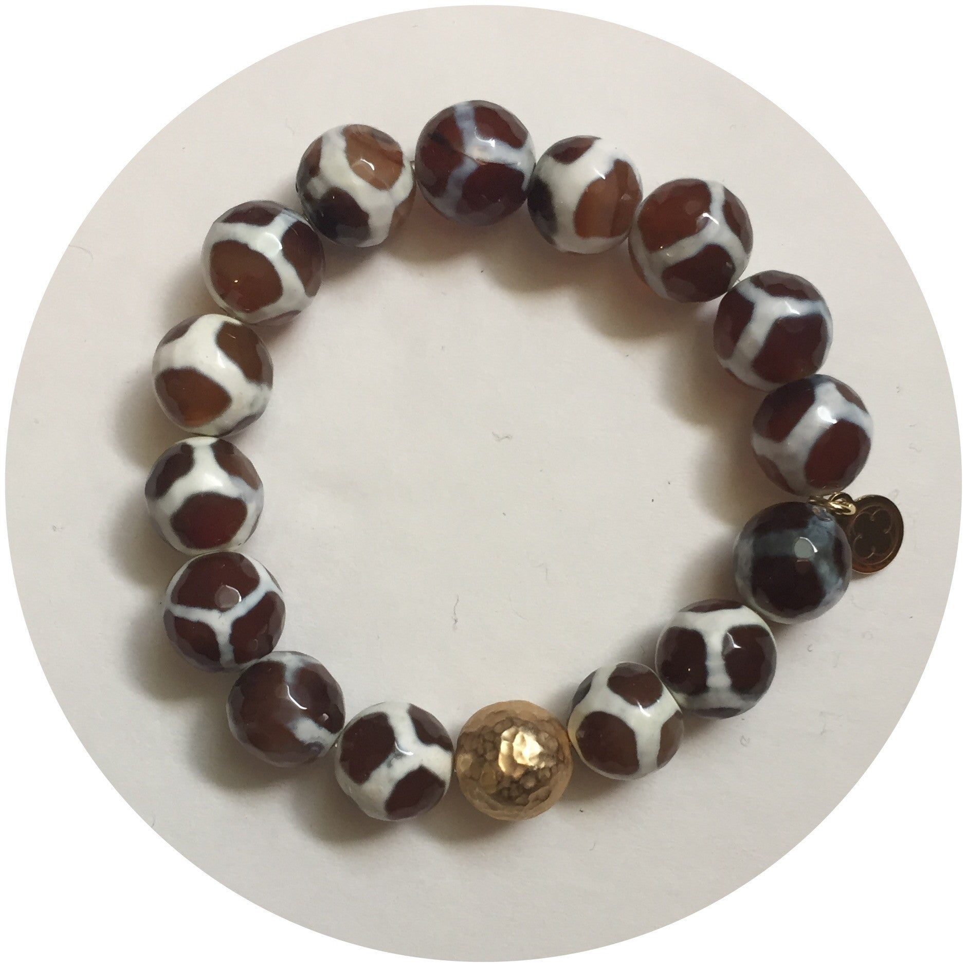 Tibetan Brown Giraffe Agate with Hammered Gold Accent