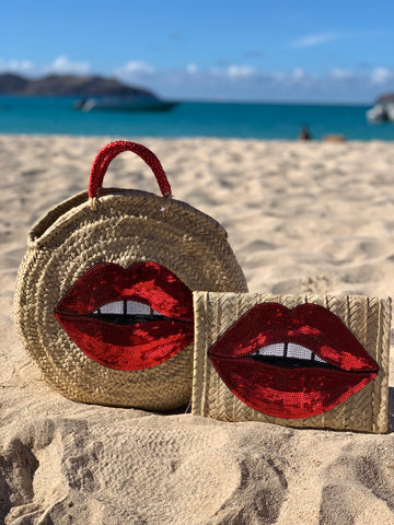 Red Lip Straw Clutch