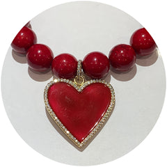 Red Riverstone with Pavé Enamel Heart Pendant - Oriana Lamarca LLC